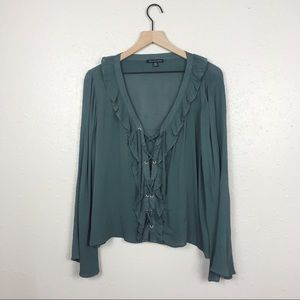 AEO lace up ruffle front blouse